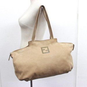 Fendi Chains Tote Nubuck Suede Beige Leather